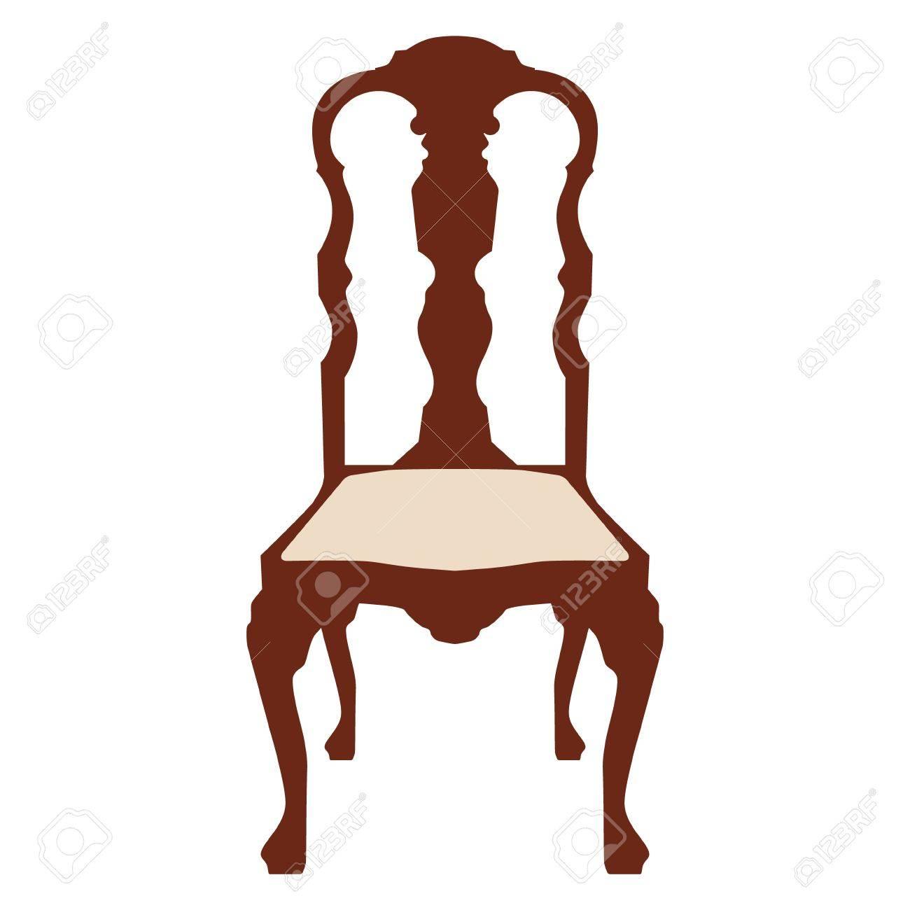 Illustration Vectorielle Chaise Blanche En Bois Vintage. Chaise ...