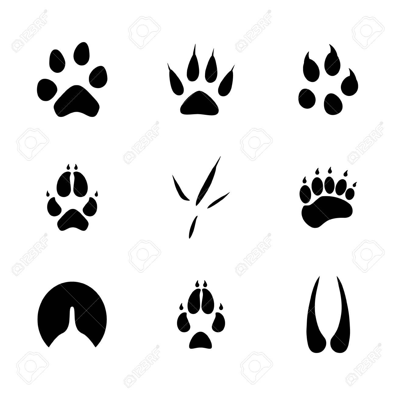 ラスター イラスト動物や鳥の足跡のアイコン セット。足を踏み入れた野生