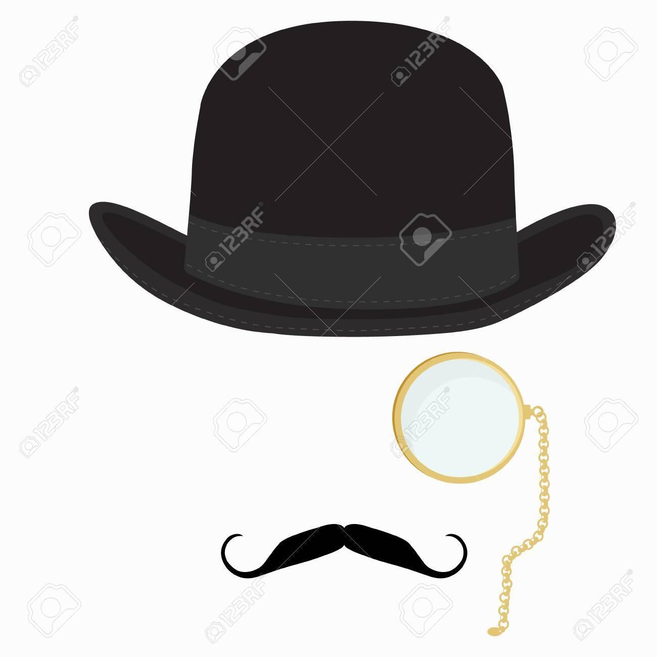 3e330b5b30afa Illustration - Raster illustration of black derby hat