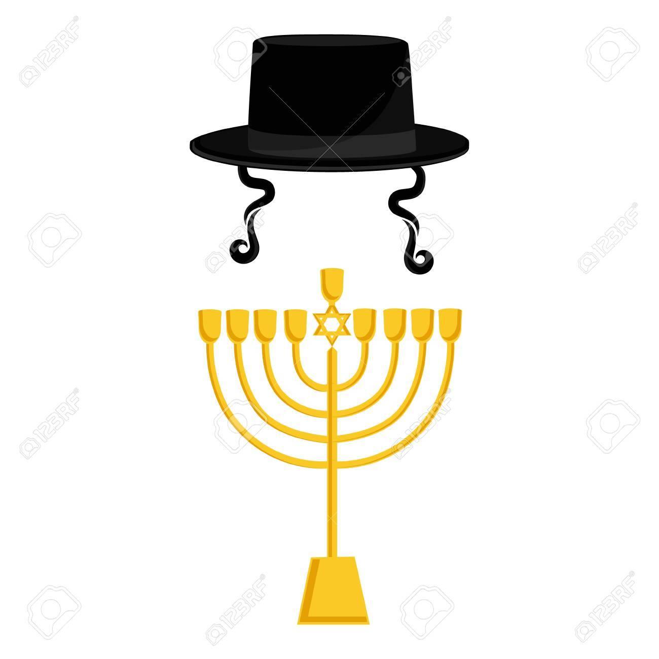 Raster illustration golden menora or menorah usually used at judaism symbols raster illustration golden menora or menorah usually used at hanukkah celebrations menorah with david star biocorpaavc Image collections