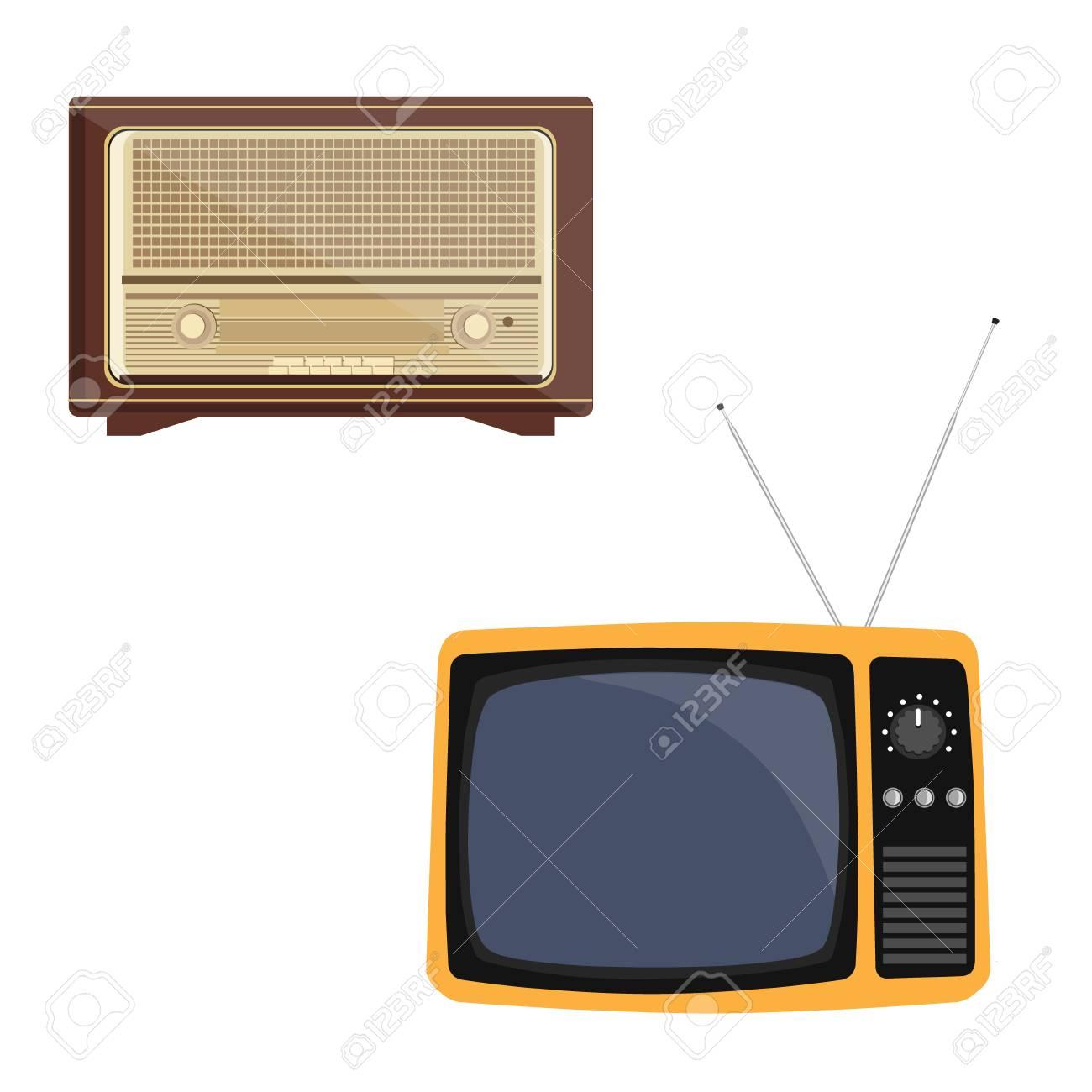 illustration raster illustration orange retro tv with antenna flat icon retro television old radio receiver of the last century