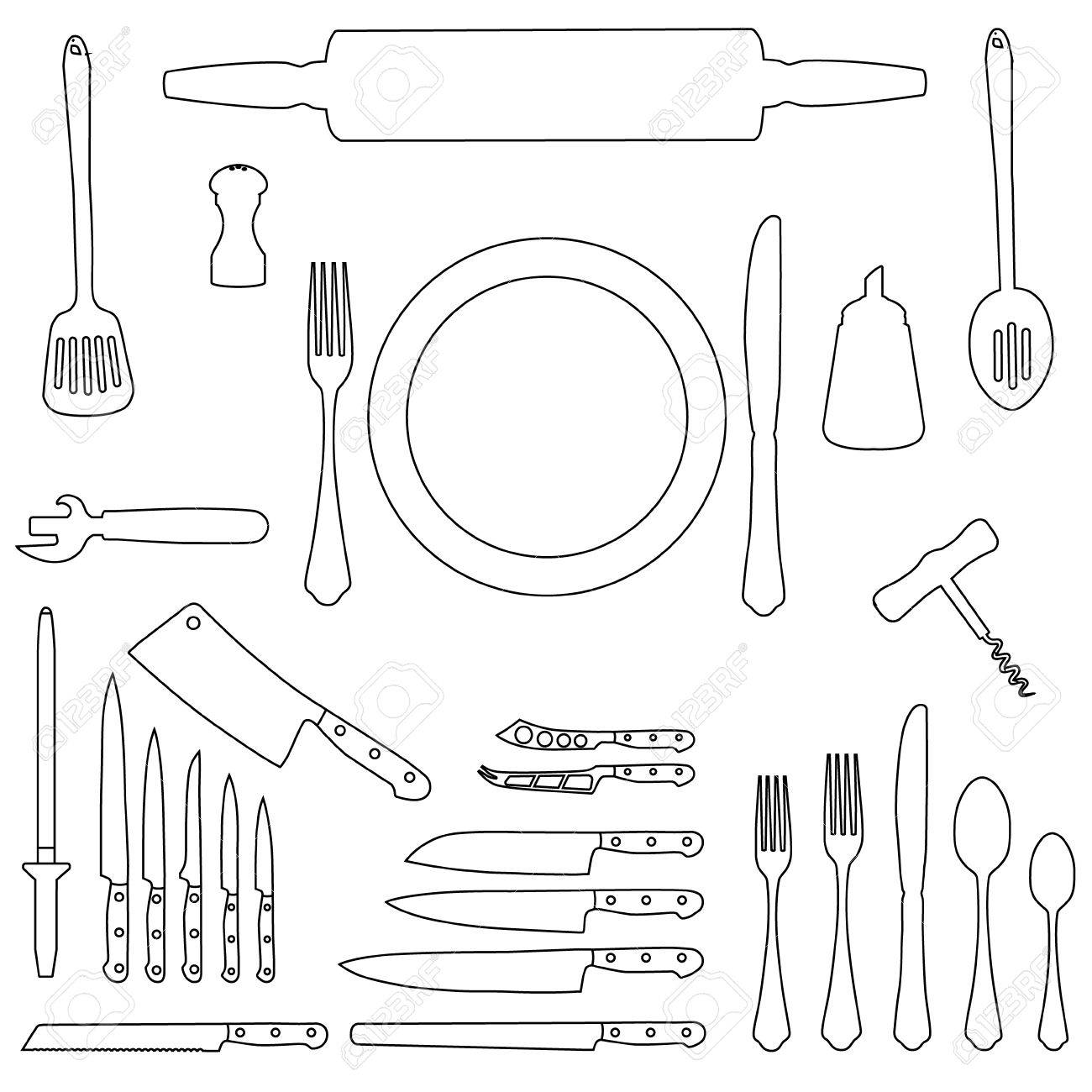 Raster Illustration Kitchen Tool Collection Outline Drawing Stock