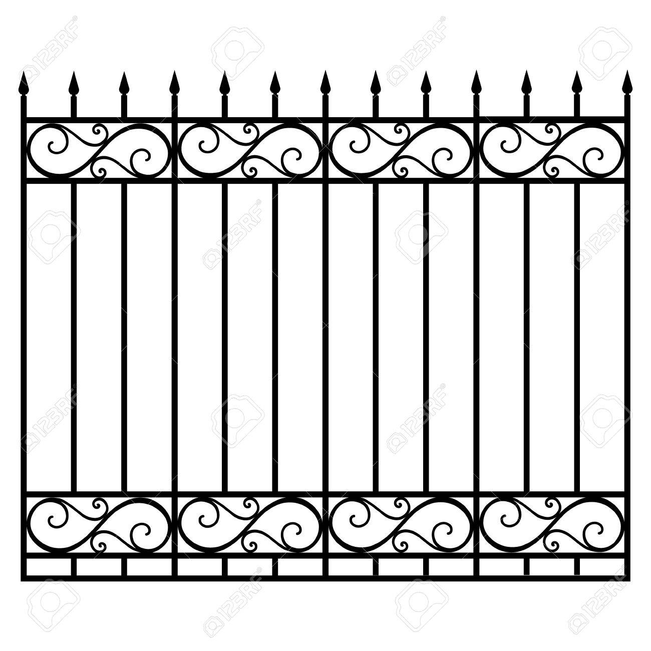 Vector Illustration Wrought Iron Modular Railing And Fence. Vintage on fence with mesh, fence with garden, fence with pickets, fence with plywood, fence with pattern, fence with gates, fence with columns, fence with trellis, fence with wire, fence with leaves, fence with trim, fence with flowers, fence with balusters, fence with brick, fence with shutters, fence with windows, fence with tree, fence with chain, fence with wood, fence with pergola,