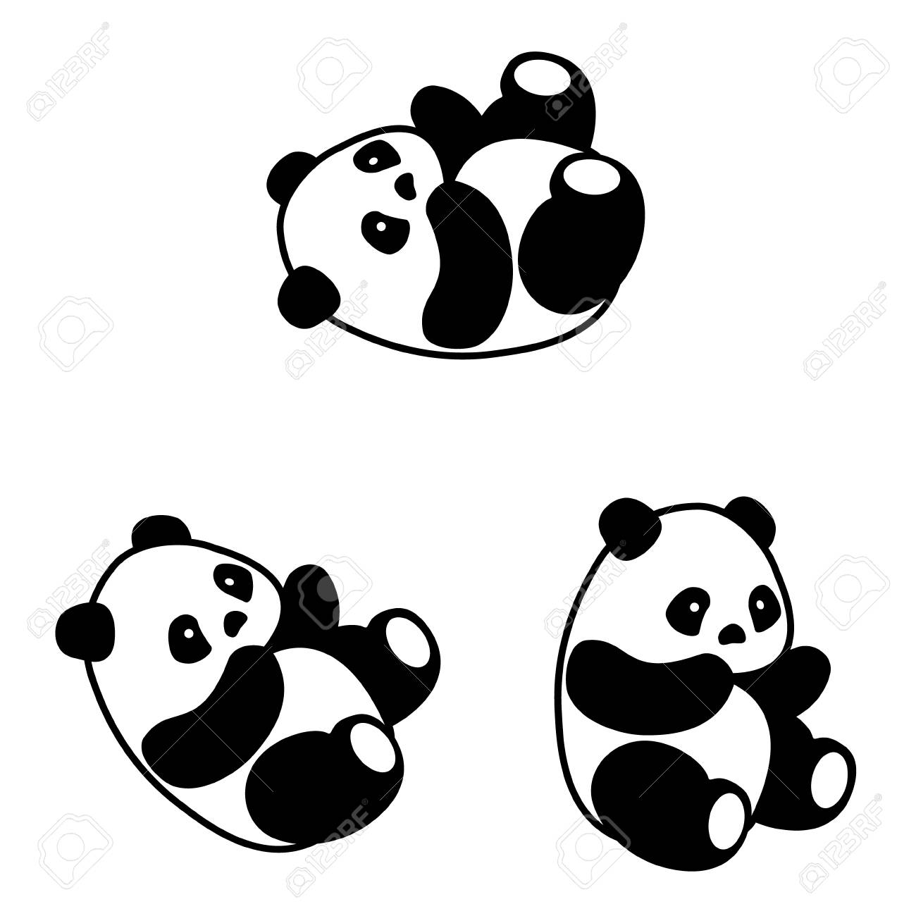 Raster Illustration Cute Cartoon Asian Panda Bear Set Collection Stock Photo Picture And Royalty Free Image Image 81223340