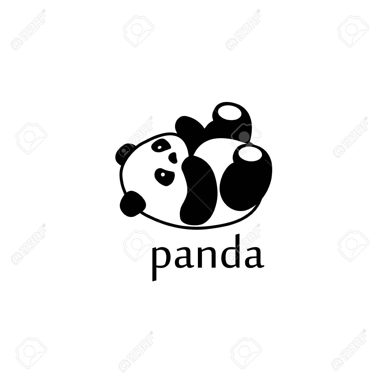 Panda Template | Raster Illustration Panda Bear Silhouette Design Template Stock