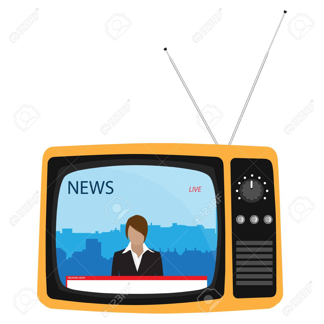 Media On Television Concept Breaking News Tv News With Woman