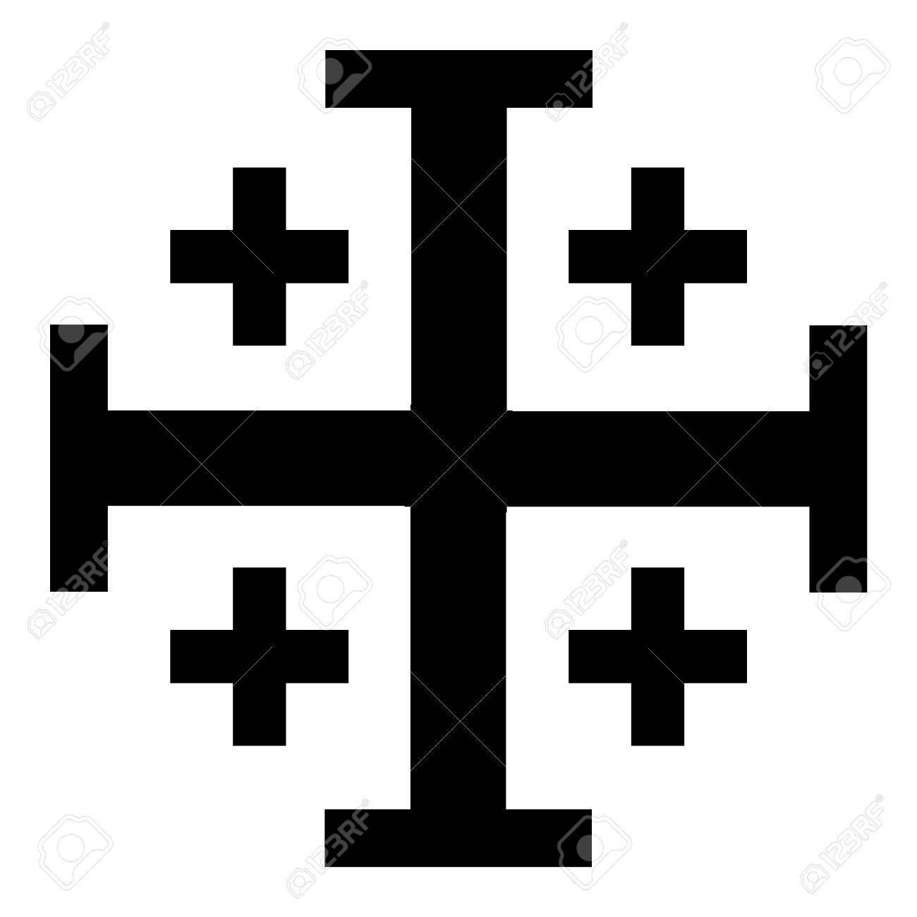 Vector illustration black Jerusalem cross. Cross of Knightly Order of the Holy Sepulchre of Jerusalem - 81378841