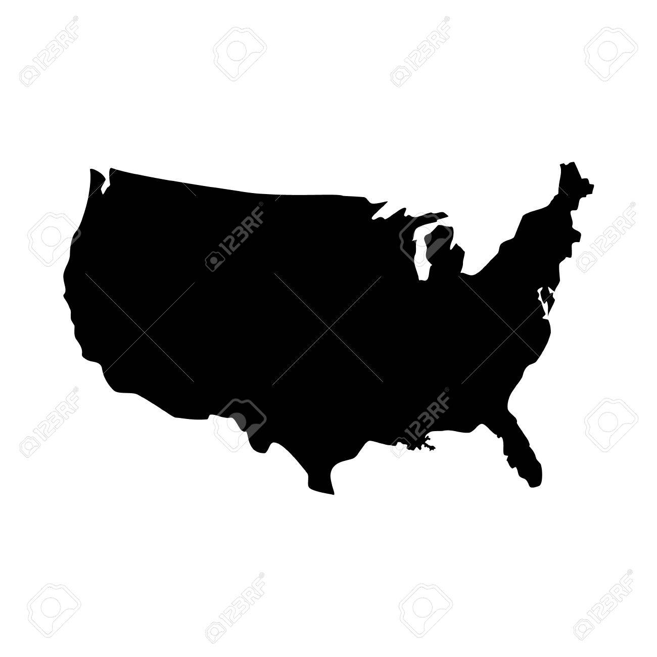 Usa Map Black.Vector Illustration Black Silhouette Map Of United States Of