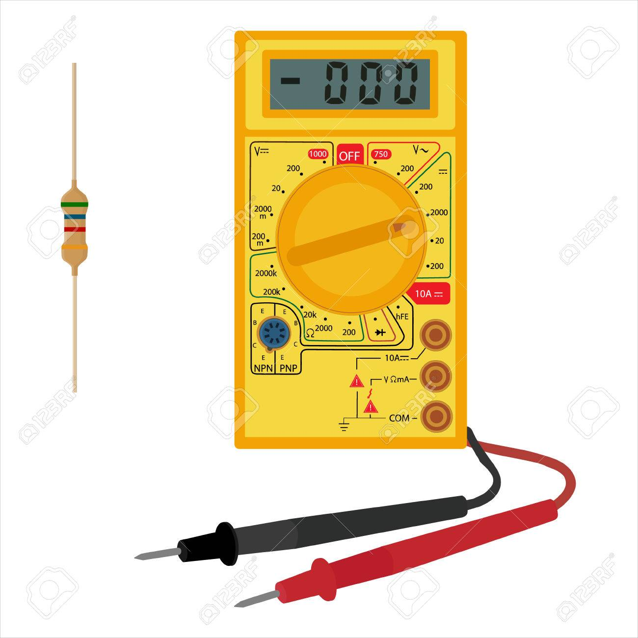 Vector Illustration Digital Electric Multimeter And Resistor ...
