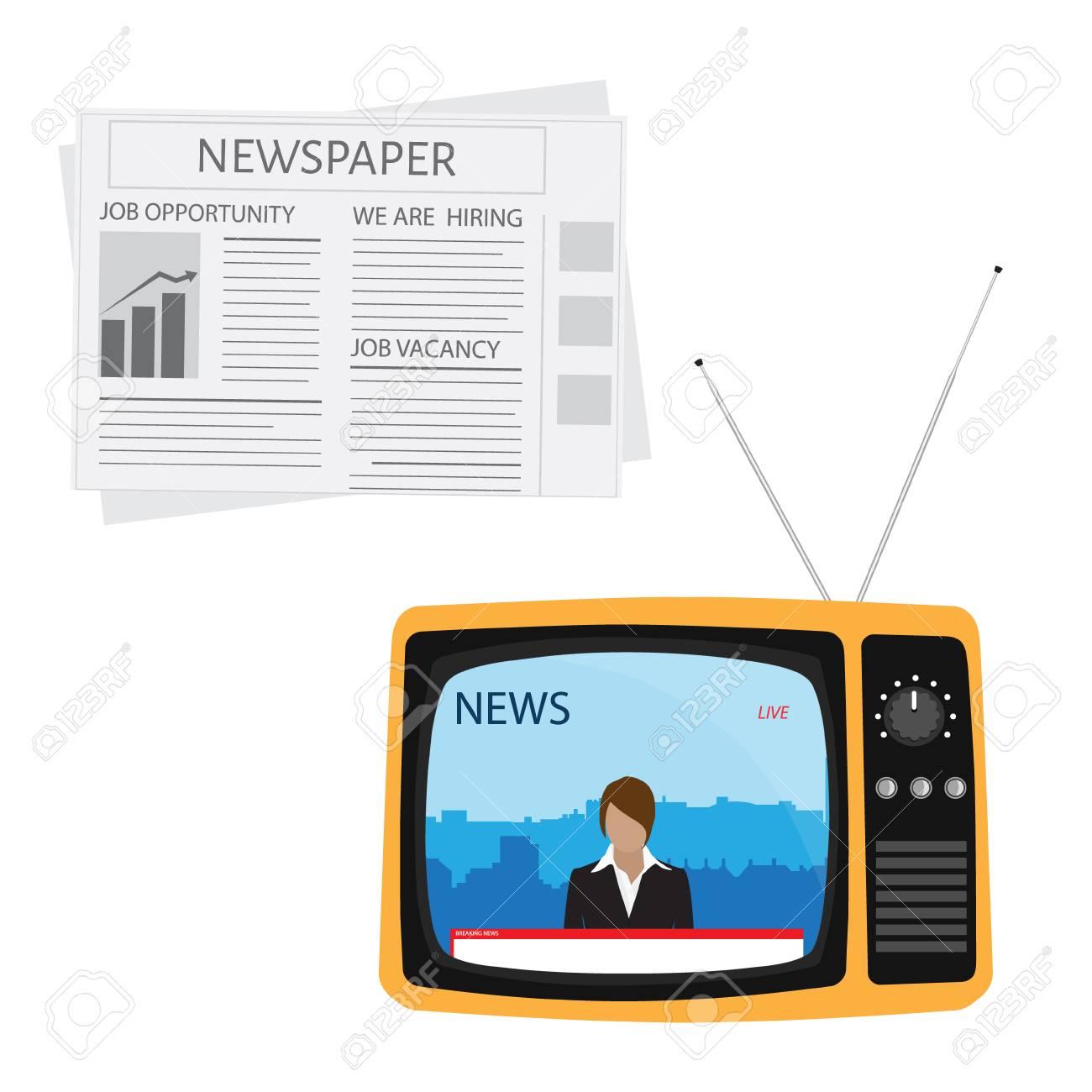 Presentador De Ilustración De Trama En Las Noticias De Difusión De ...