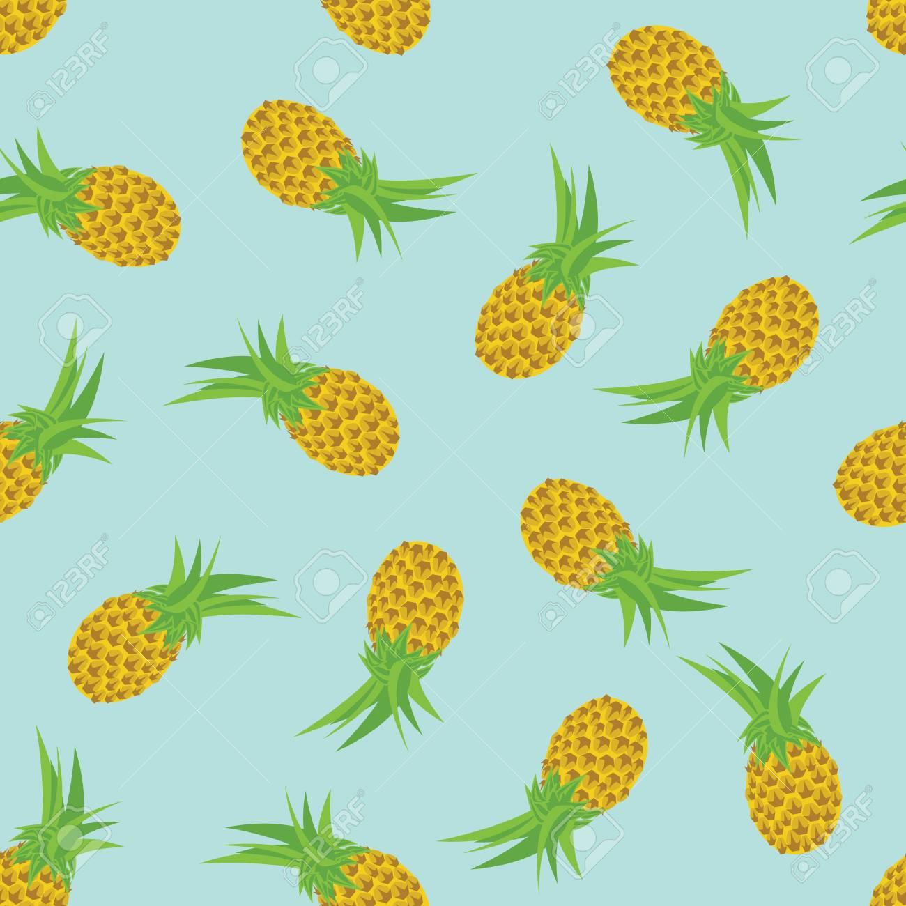 エキゾチックなフルーツ パイナップルとラスター図シームレス パターン トロピカル フルーツ パターン 壁紙や背景 の写真素材 画像素材 Image