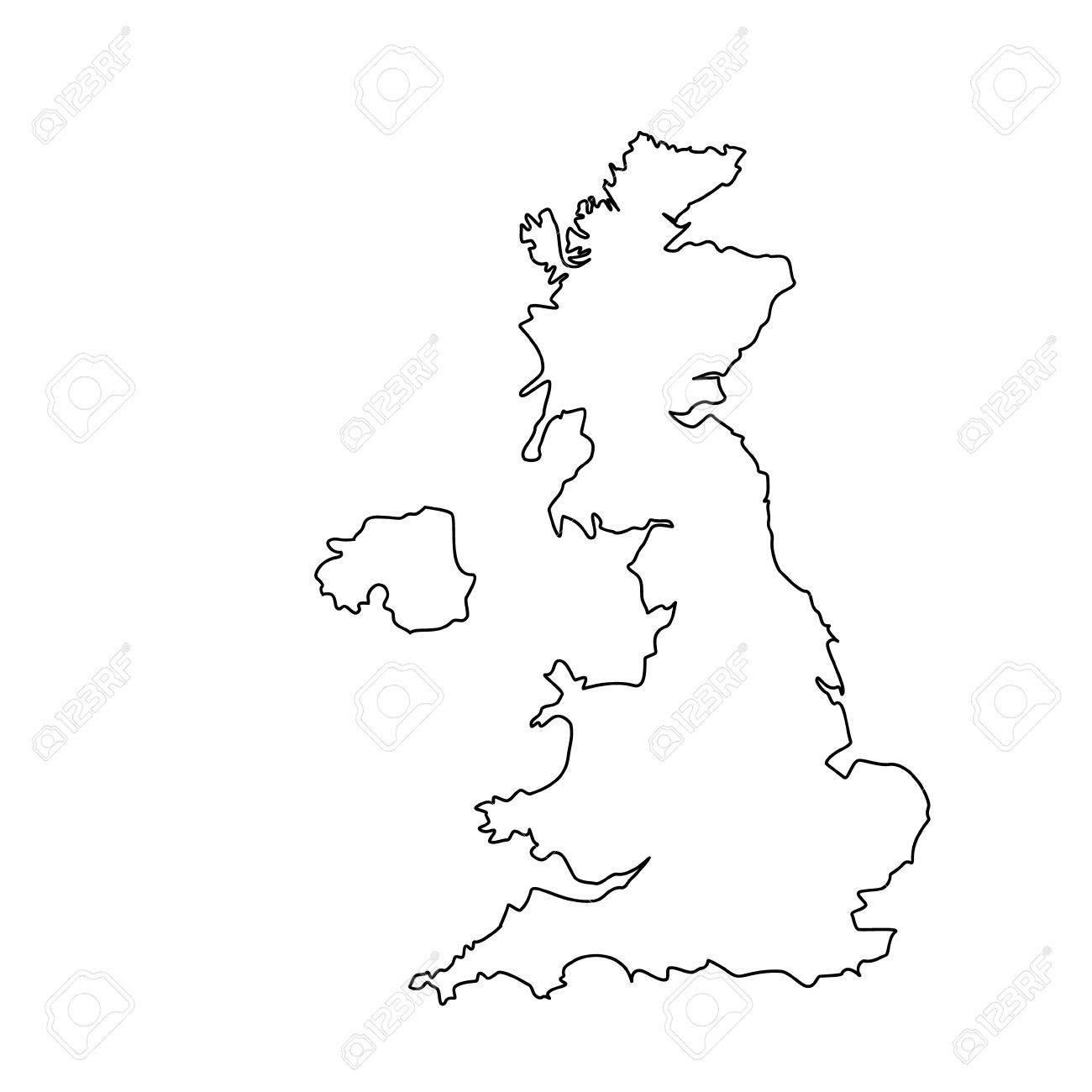 Uk Map Outline Raster Illustration Uk Map Outline Drawing. England Map Line  Uk Map Outline