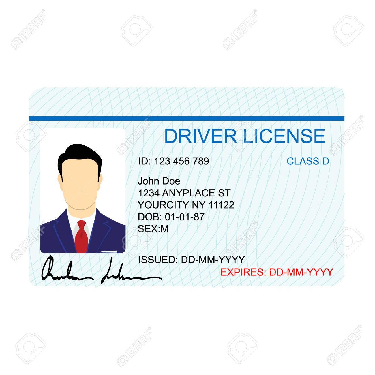 Driver License Template | Vector Illustration Man Driver License Card Template Royalty Free