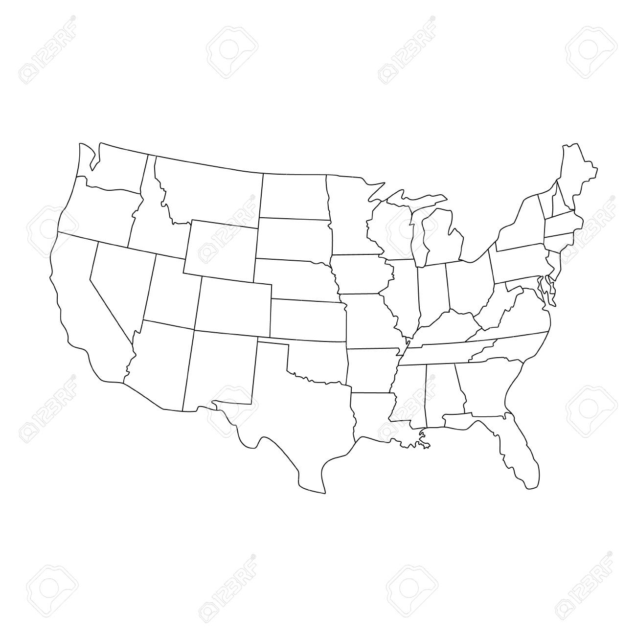 Vector illustration USA map. States and territories of United..