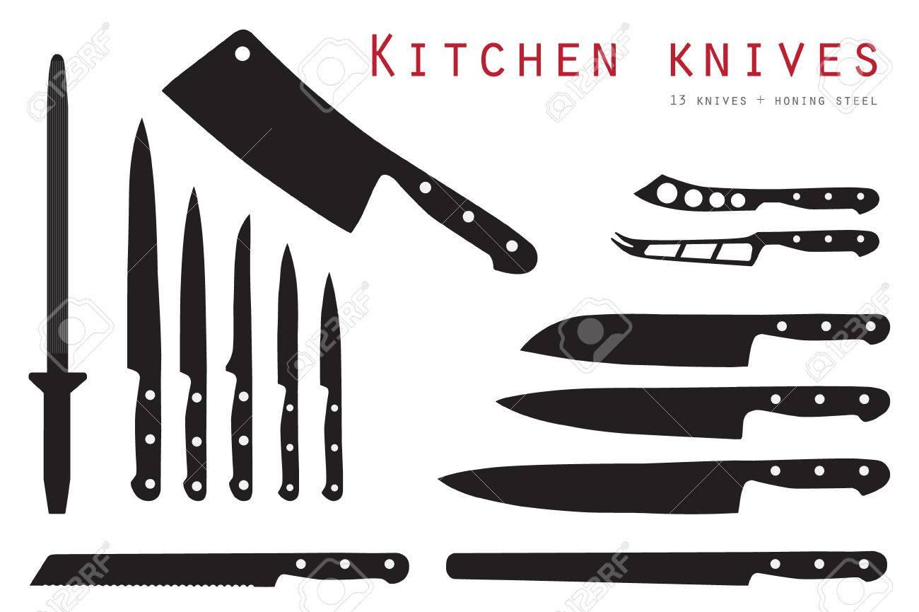 set de couteaux à découper viande illustration raster. ensemble de