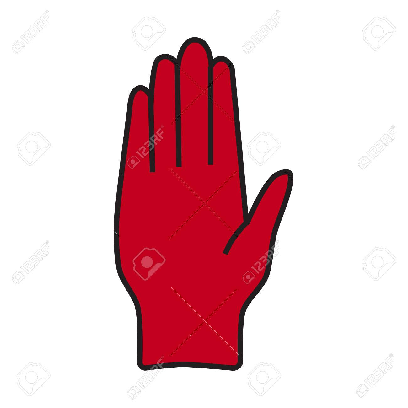 Raster Illustrations Stop Red Hand Symbol Icon Sign Royalty Fria