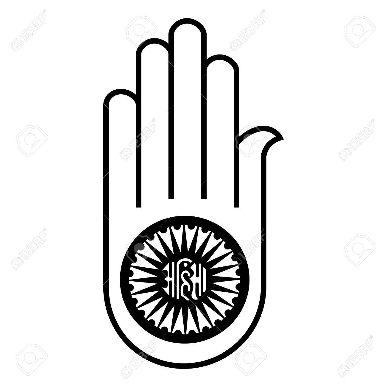 Raster Illustration Jain Symbol Hand Ahimsa Icon Indian Jainisms