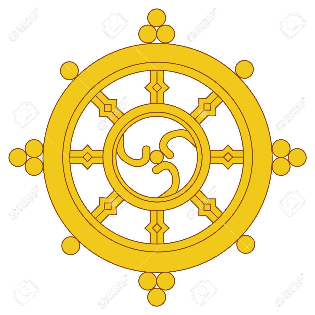 Raster illustration golden dharma wheel buddhism raster symbol raster illustration golden dharma wheel buddhism raster symbol dharmachakra stock illustration 82835930 buycottarizona Image collections