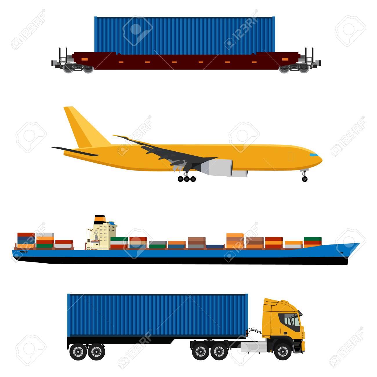 Ilustración De Trama De Avión Amarillo, Camión Con Contenedor, Buque ...
