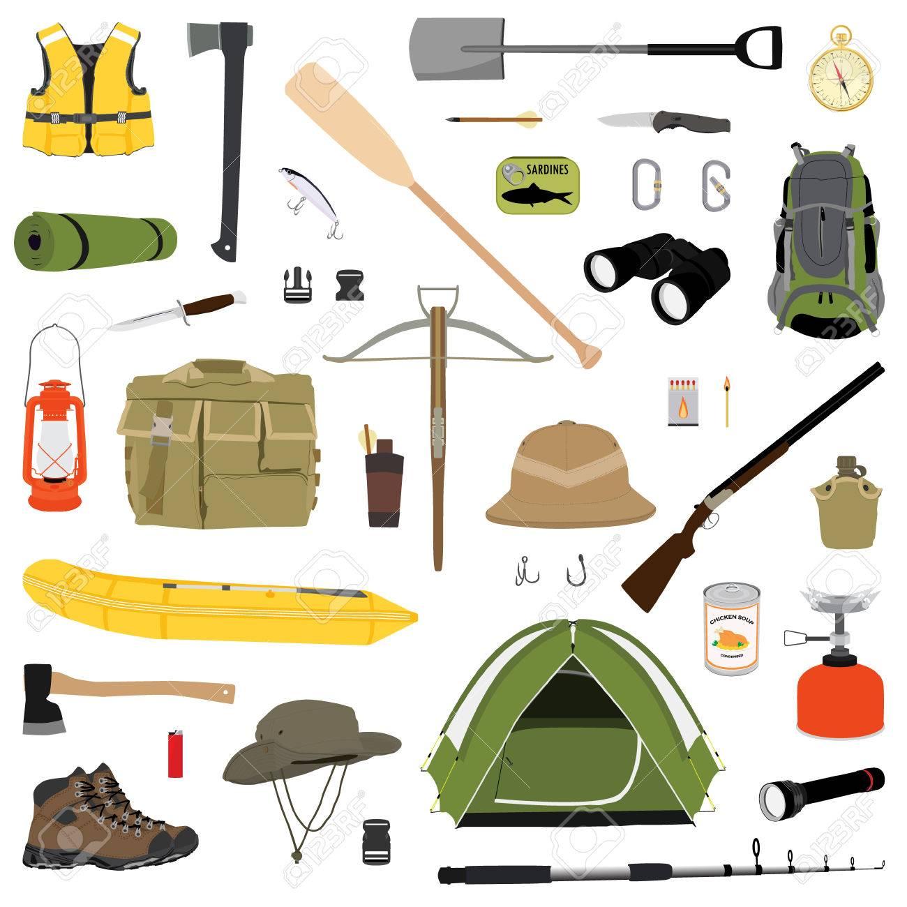 Senderismo Conjunto De Iconos. Equipo De Campamento Colección Raster.  Binoculares a27196c0a8a