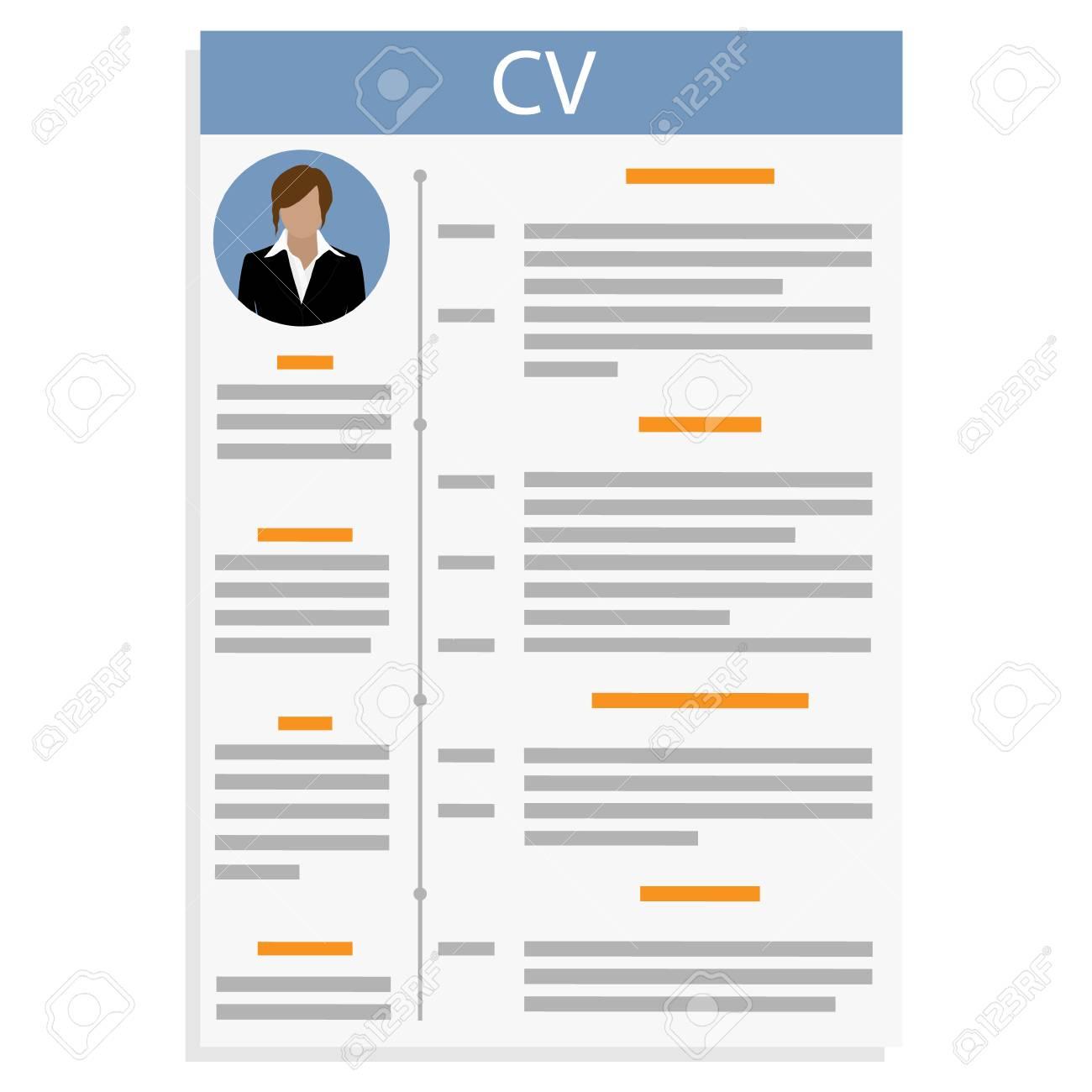 Ilustración De Trama CV O Curriculum Vitae Plantilla De Diseño Con ...