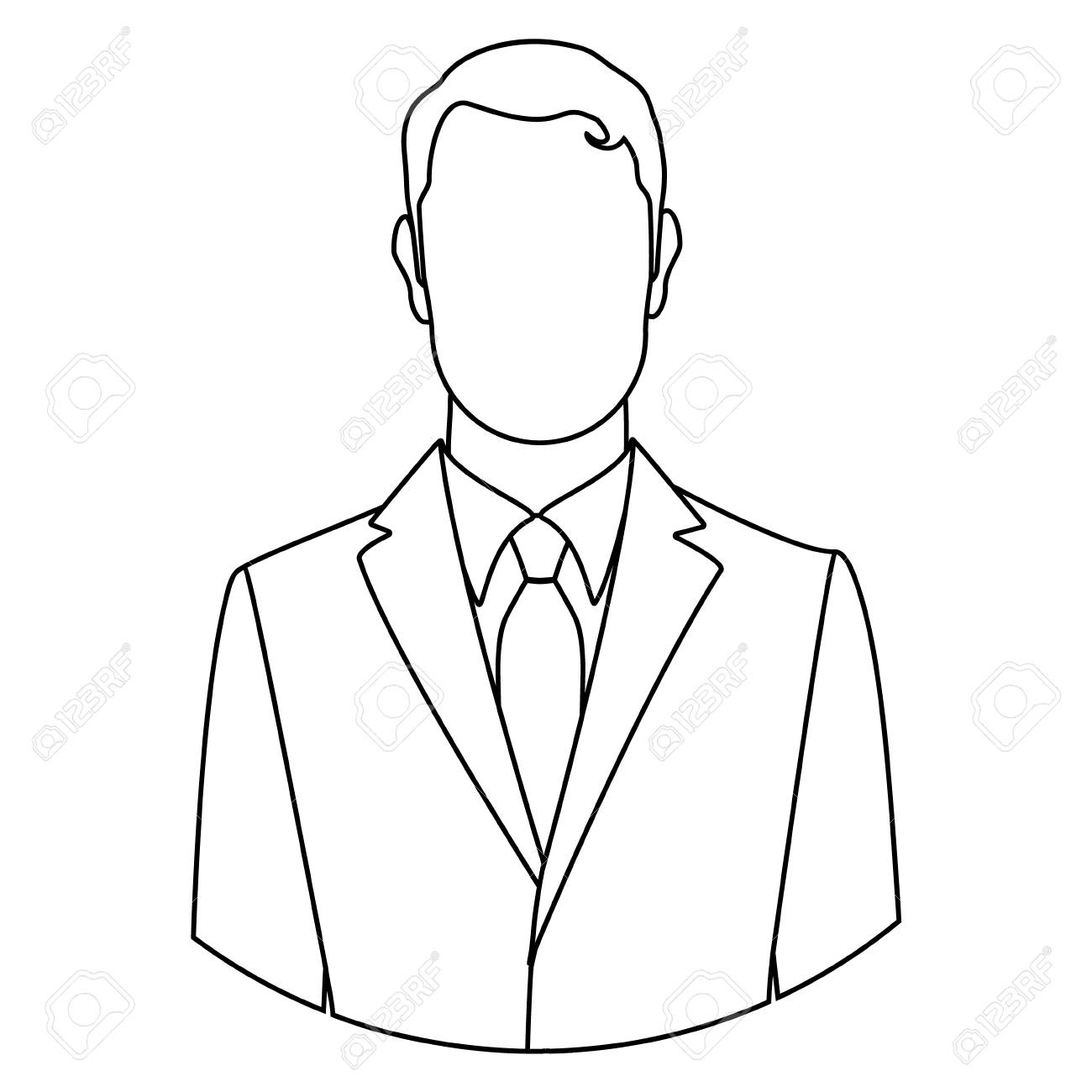 Raster illustration line businessman icon male outline drawing face avatar line art style raster