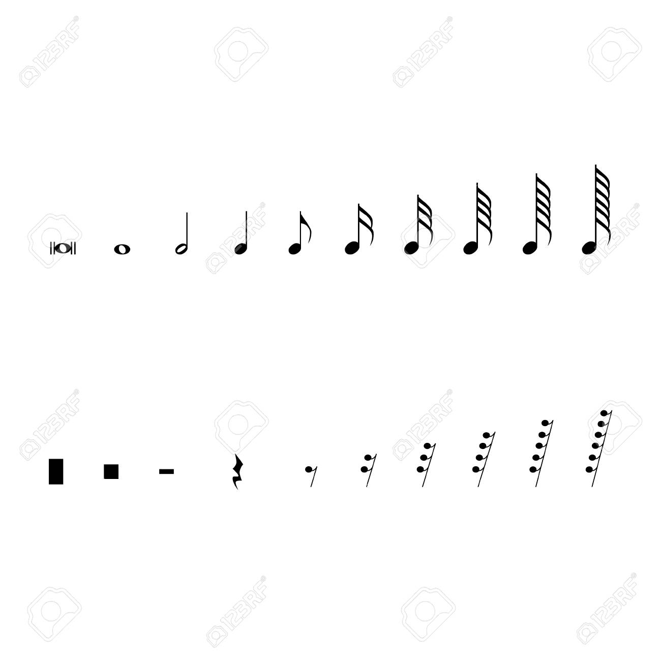 Raster illustration musical notes and pauses black music symbols raster illustration musical notes and pauses black music symbols isolated on white music notation buycottarizona Gallery