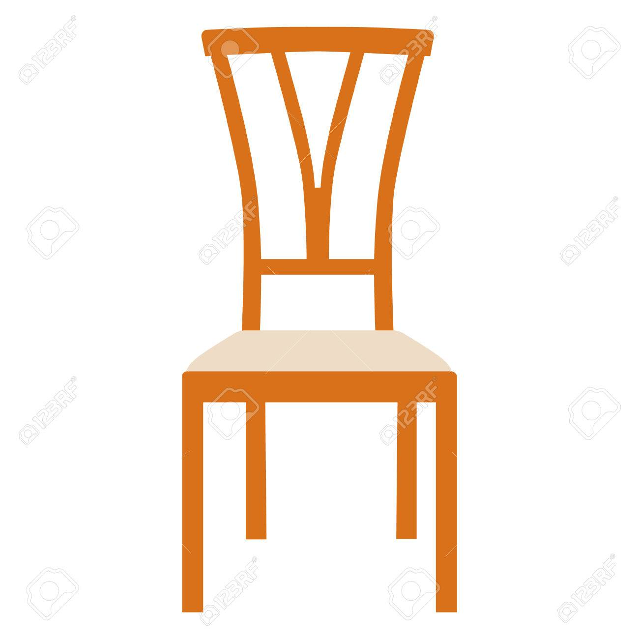 Raster Illustration Chaise Blanche En Bois Vintage. Chaise ...