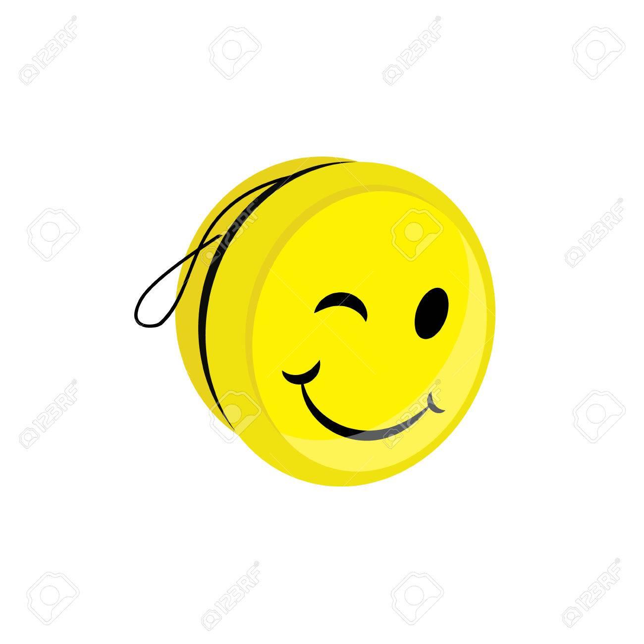 Raster illustration yellow yoyo toy with smile yo yo symbol raster illustration yellow yoyo toy with smile yo yo symbol icon flat stock illustration buycottarizona Images