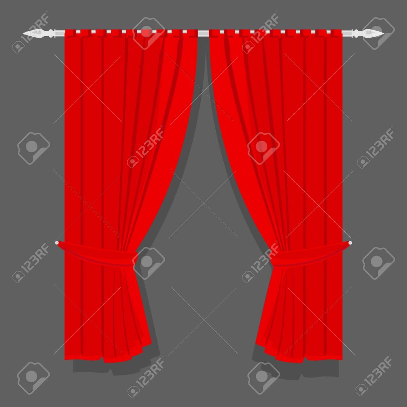 Photo De Rideau Pour Fenetre traitements de fenêtre illustration raster rideaux rouges pour la maison ou  l'intérieur de la maison. rideaux de luxe en velours de soie rouge