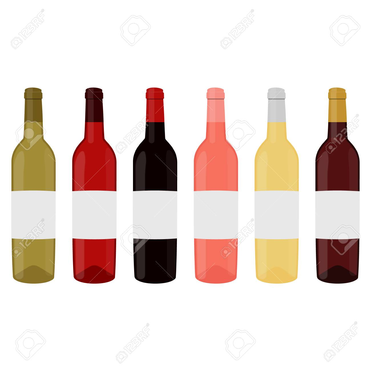 raster illustration set collection of wine bottles with red