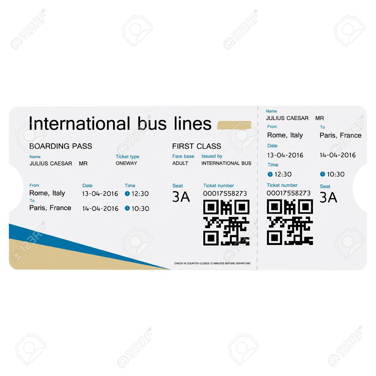 illustration raster illustration bus ticket template design isolated on white realistic transport ticket with bar code bus boarding pass ticket