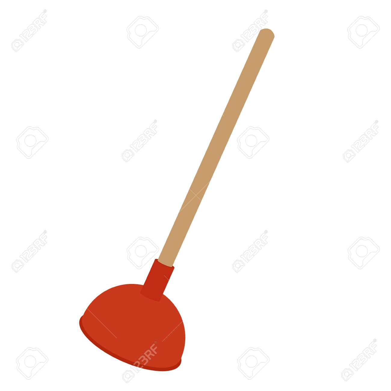 Vector Illustration Toilet Plunger Isolated On White Background ...