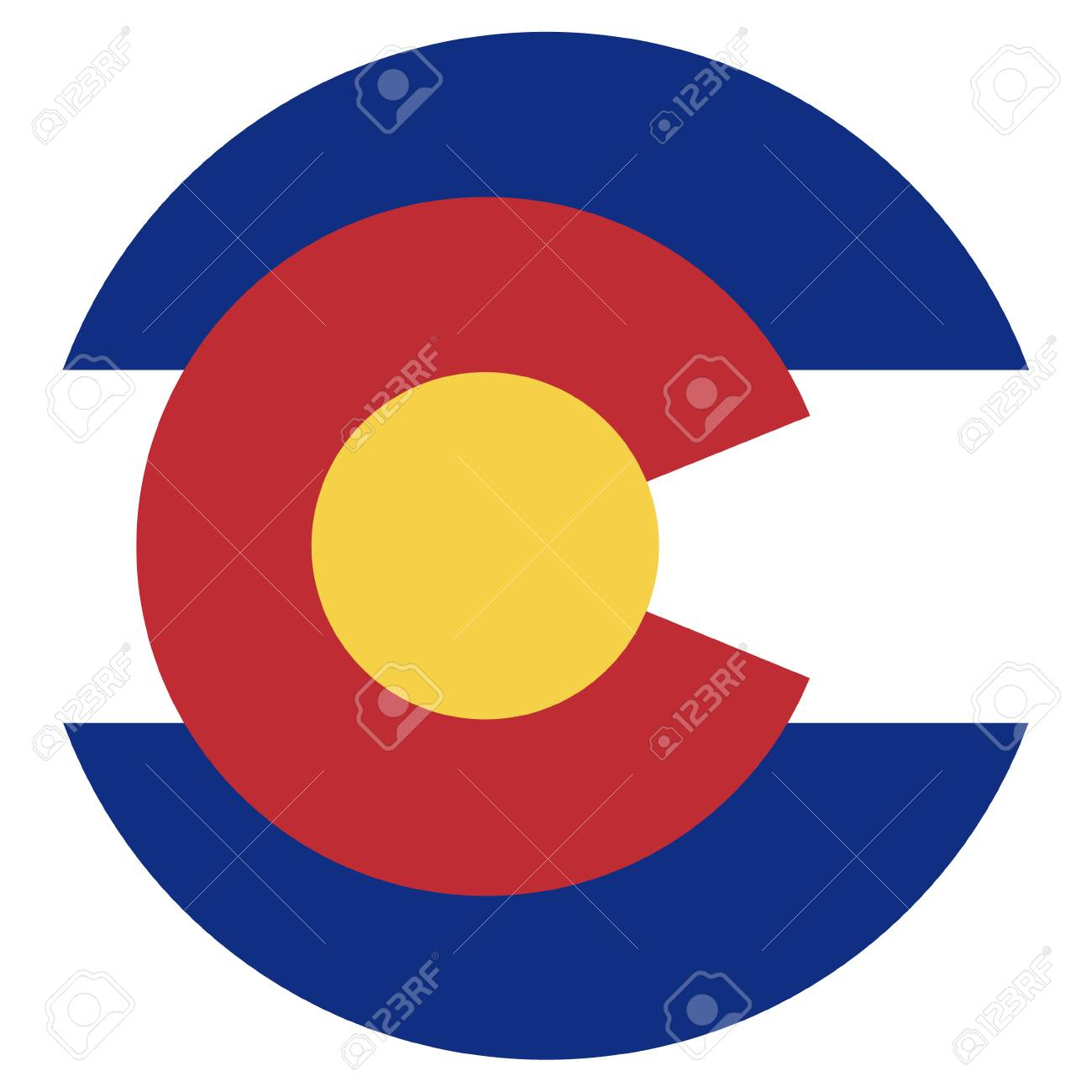 Round Colorado State Flag Vector Icon Isolated On White Background. USA Colorado  State Flag Button