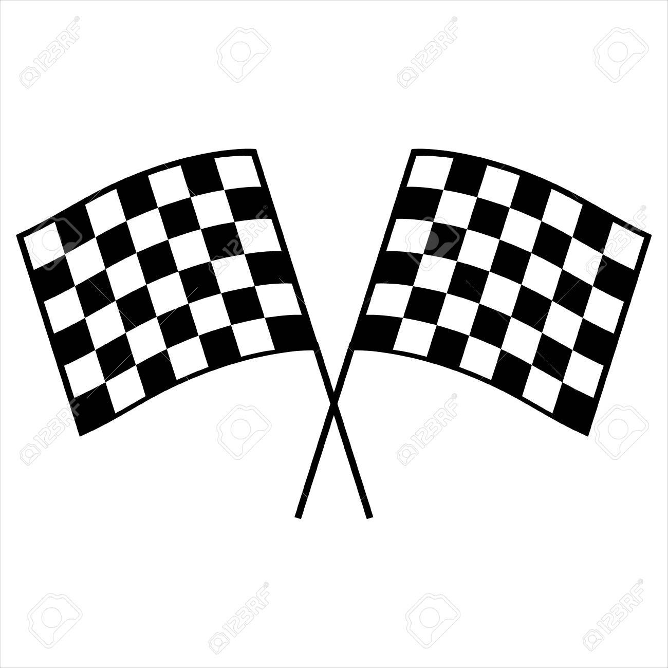 Vector Illustration Two Crossed Auto Racing Flag Icon Finish