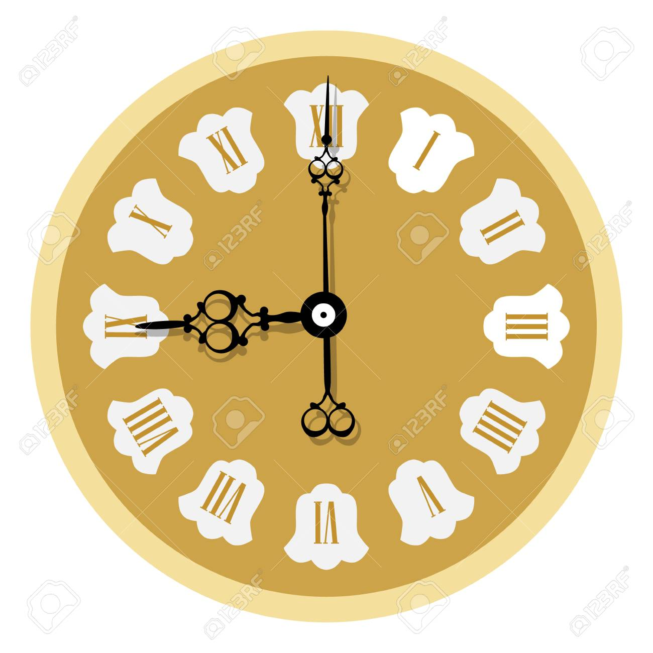 A Vector Illustration Elegant Golden Wall Clock With Vintage ...