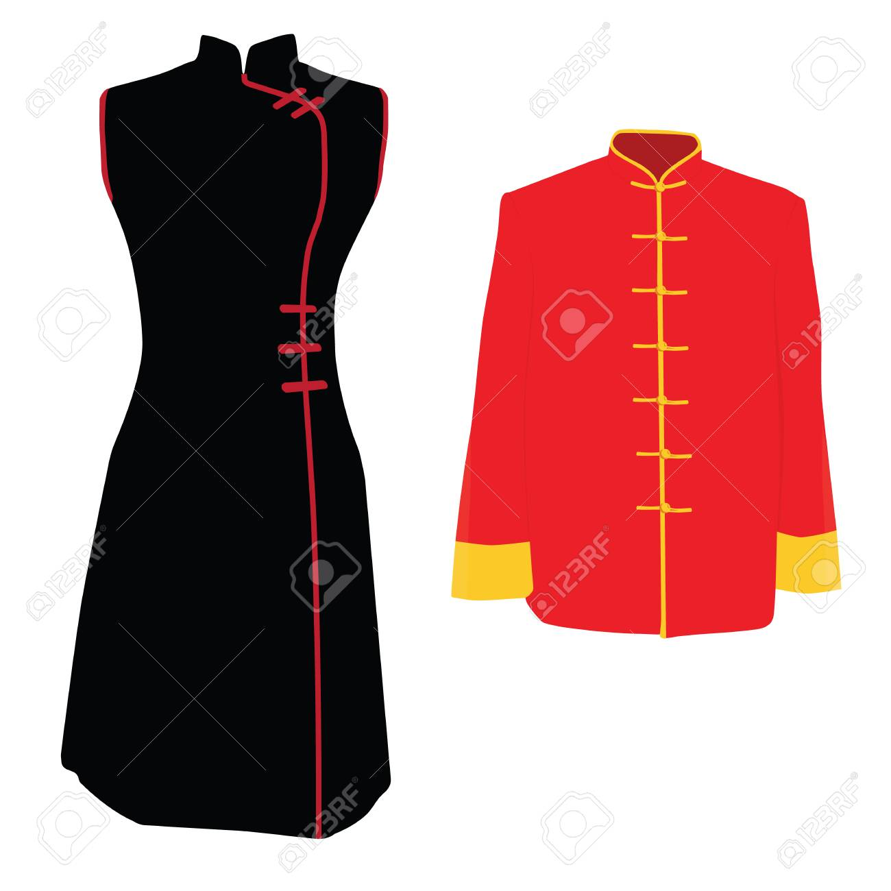 Raster Illustration Homme Chinois Costume Traditionnel De Femme