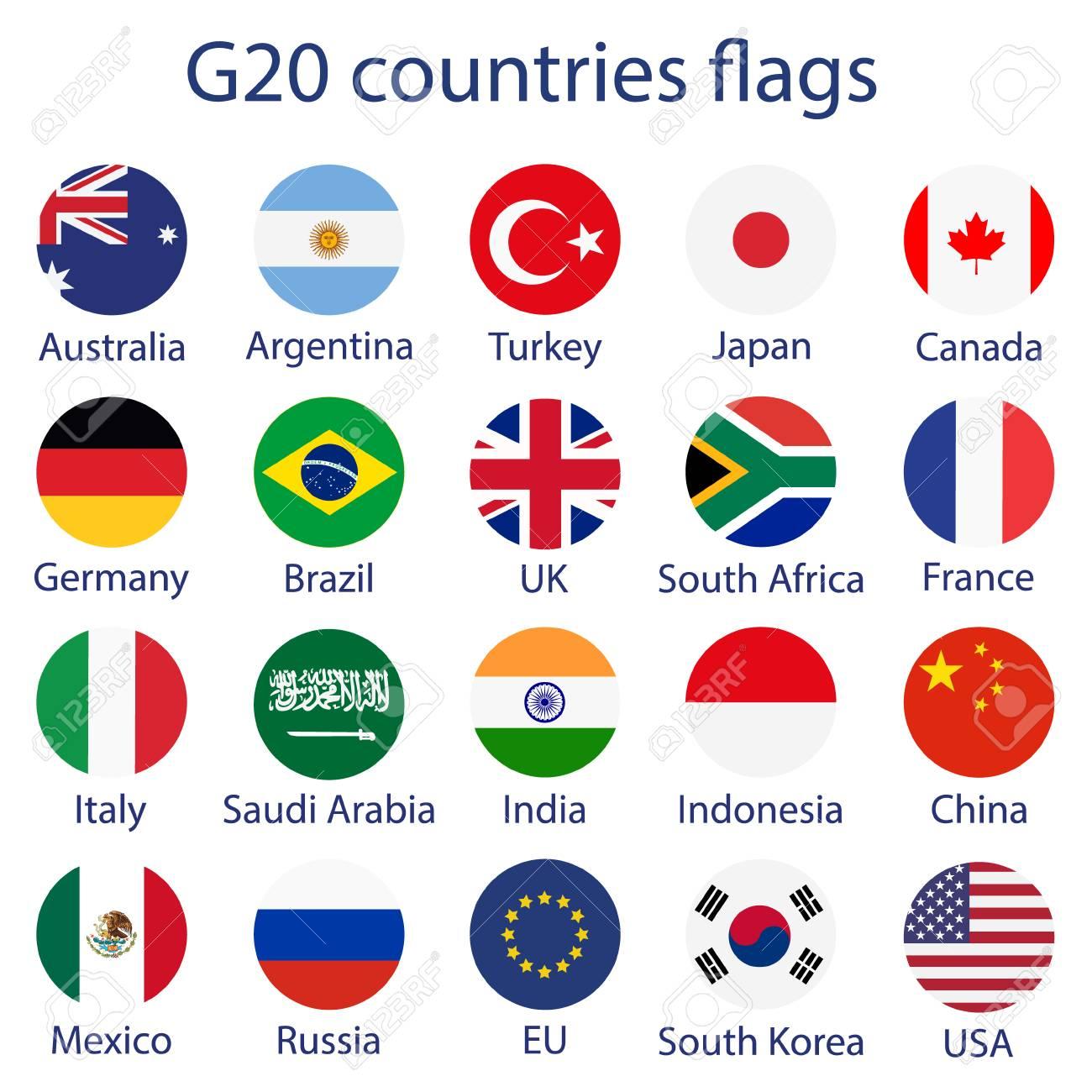 Ilustración De Vector De Banderas De Países G 20 Ilustraciones Vectoriales Clip Art Vectorizado Libre De Derechos Image 86489422
