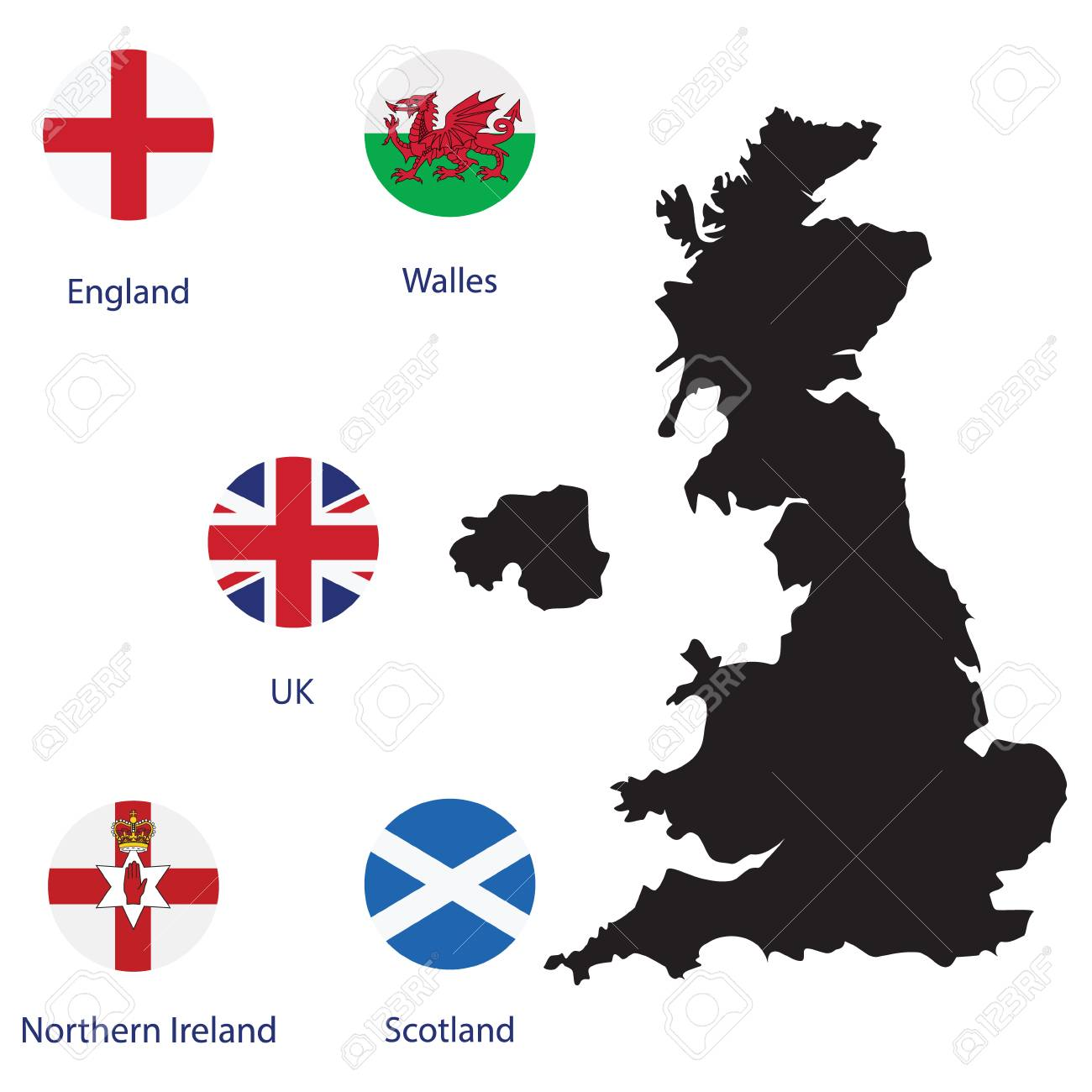 Map Of England Ireland Scotland Wales.Raster Illustration Round Flags Of Uk England Scotland Wales
