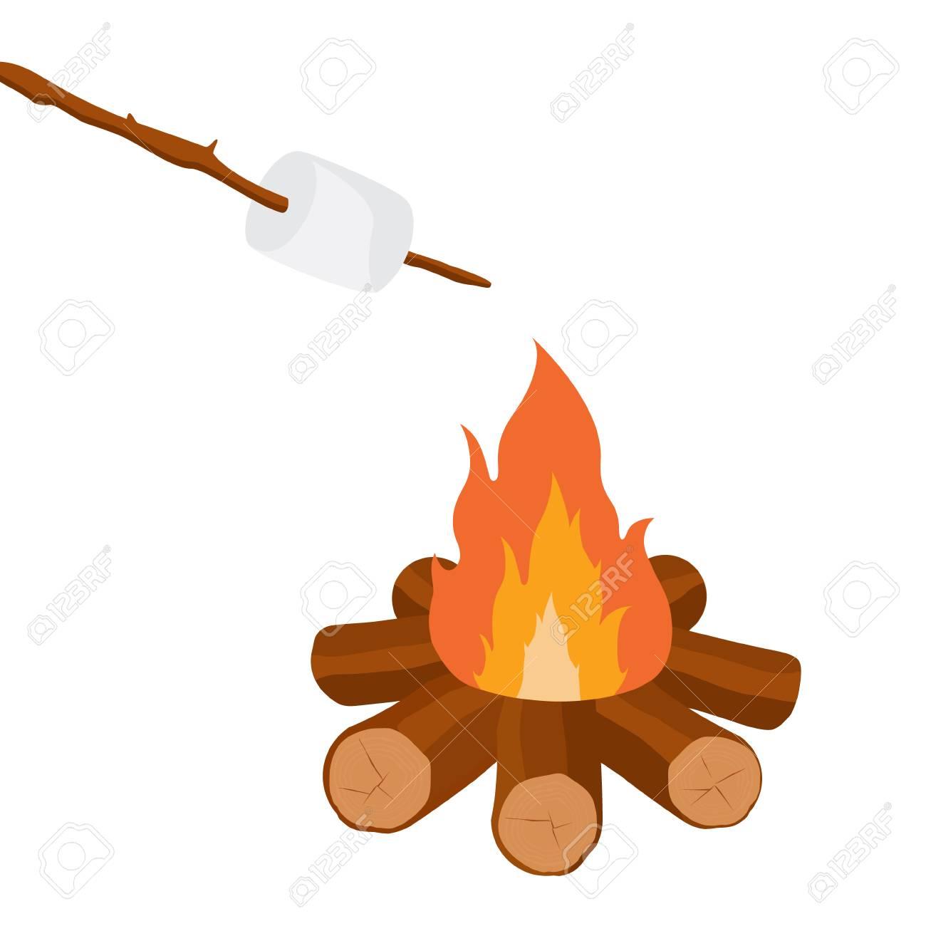 Vector Illustration Marshmallow On Wooden Stick Roasting Campfire