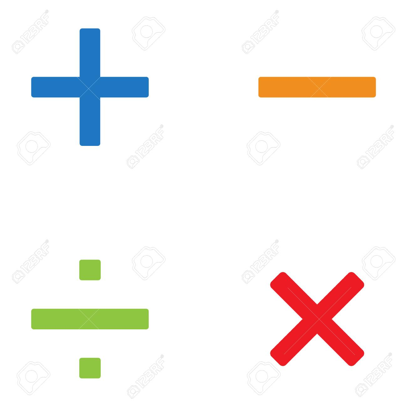 Vector Illustration Simple Math Symbols, Signs Set, Collection ...
