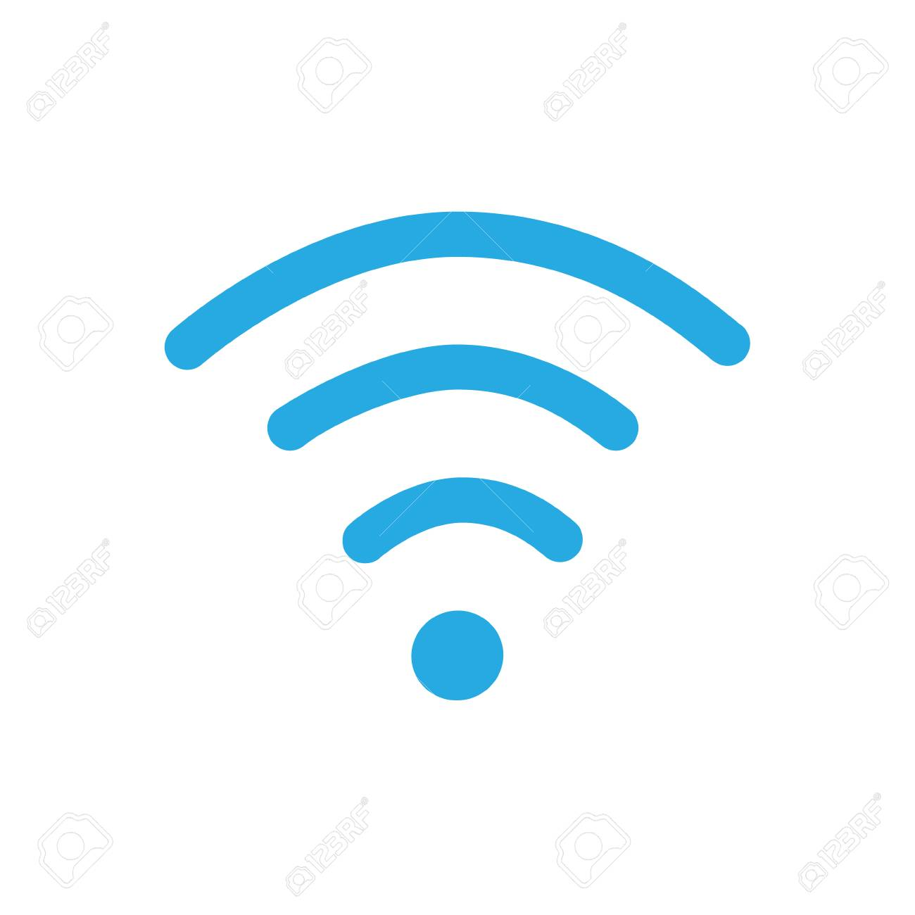 Raster Illustration Flat Design Blue Wireless Icon. WiFi Symbol ...
