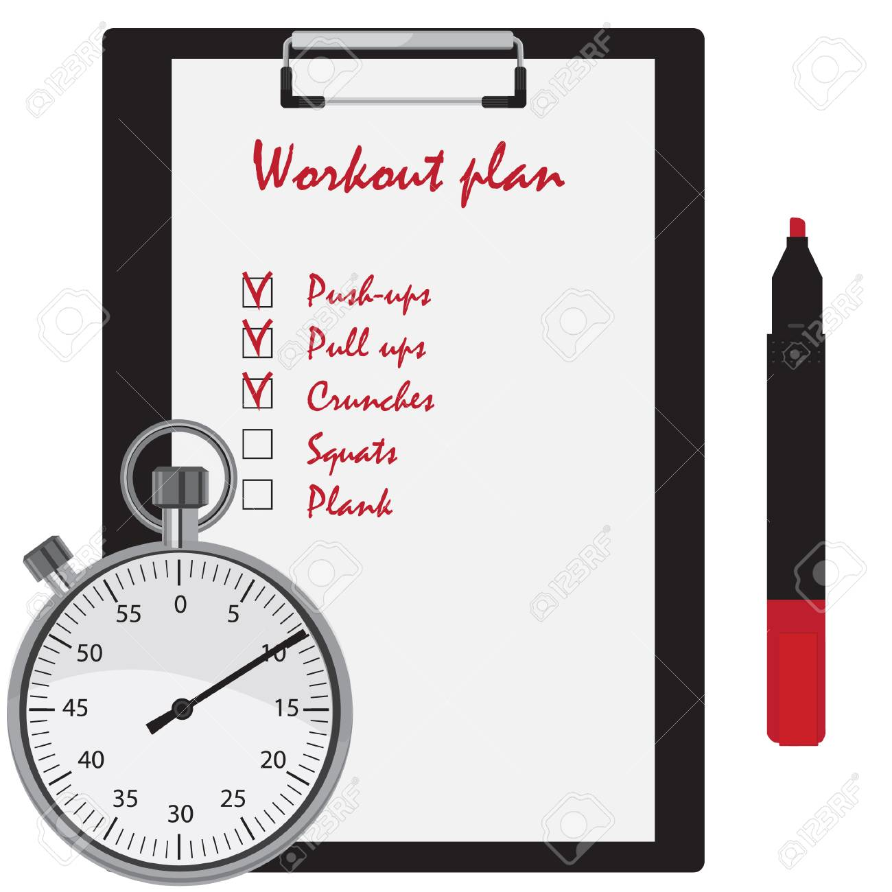 Workout plan with checkboxes on clipboard, red marker pen and