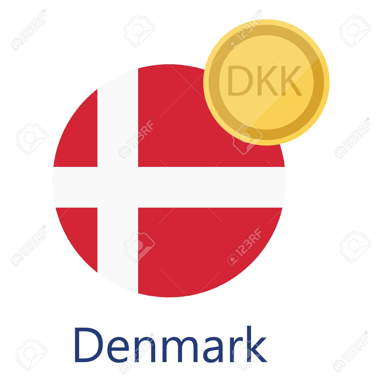 Raster Illustration Denmark Round Flag And Currency Symbols Dkk