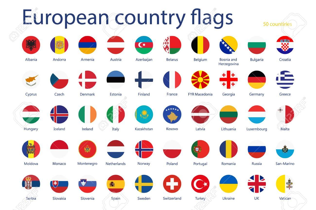 Conjunto De Ilustración De Trama De Banderas De Países Europeos ...