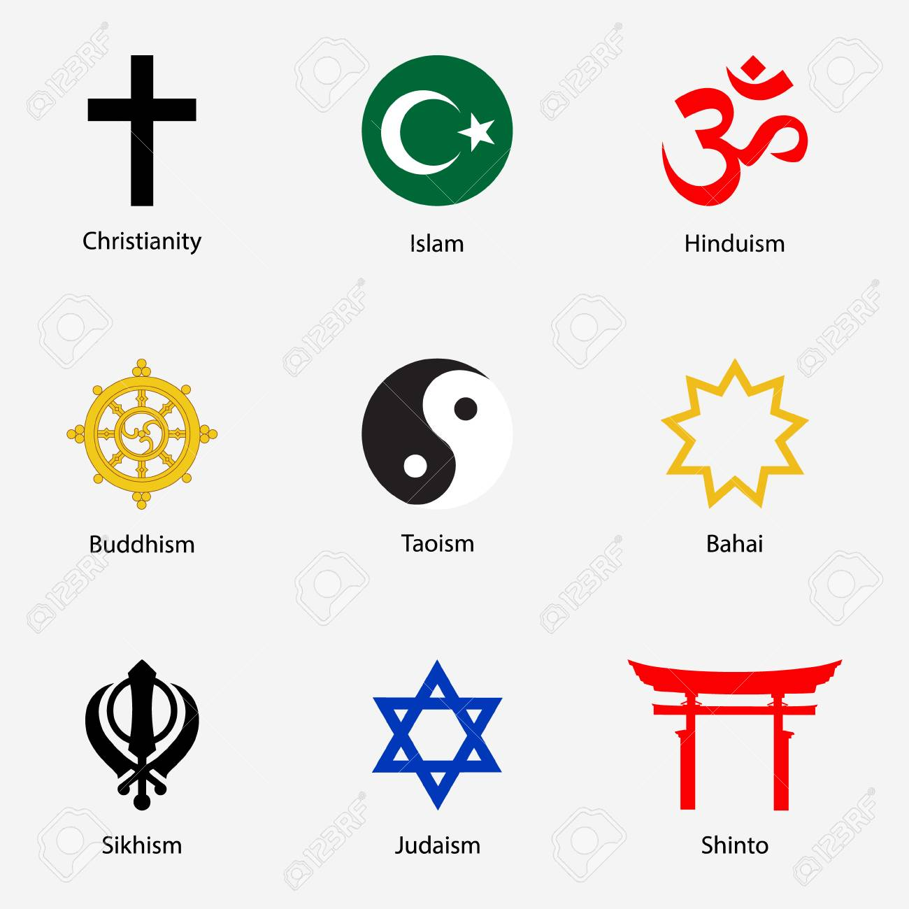 Raster Illustration Set Of Religious Symbols With Names Stock Photo