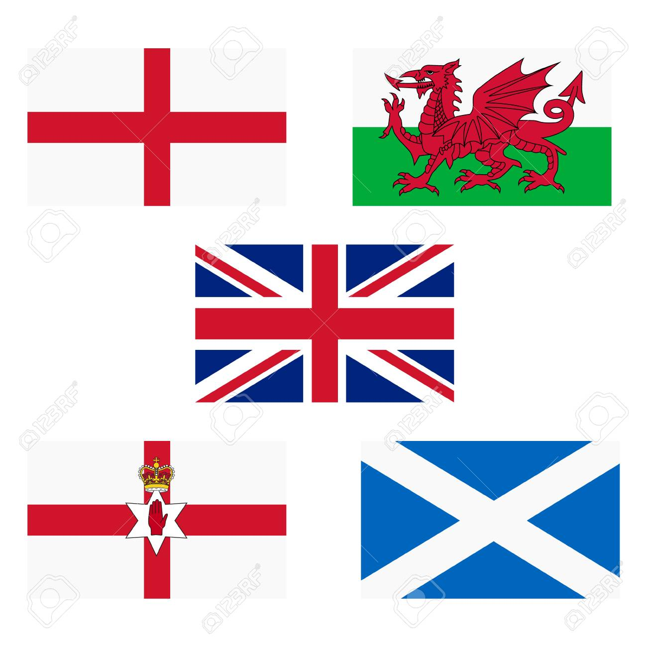 Raster illustration flags of UK, England, Scotland, Wales and