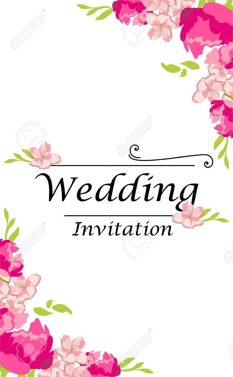 Raster Illustration Wedding Invitation Template. Modern Design ...