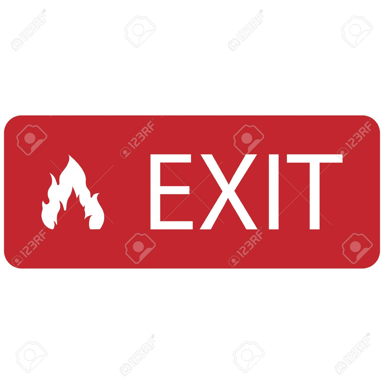 Raster Illustration Red Emergency Exit Sign Symbol Icon Isolated