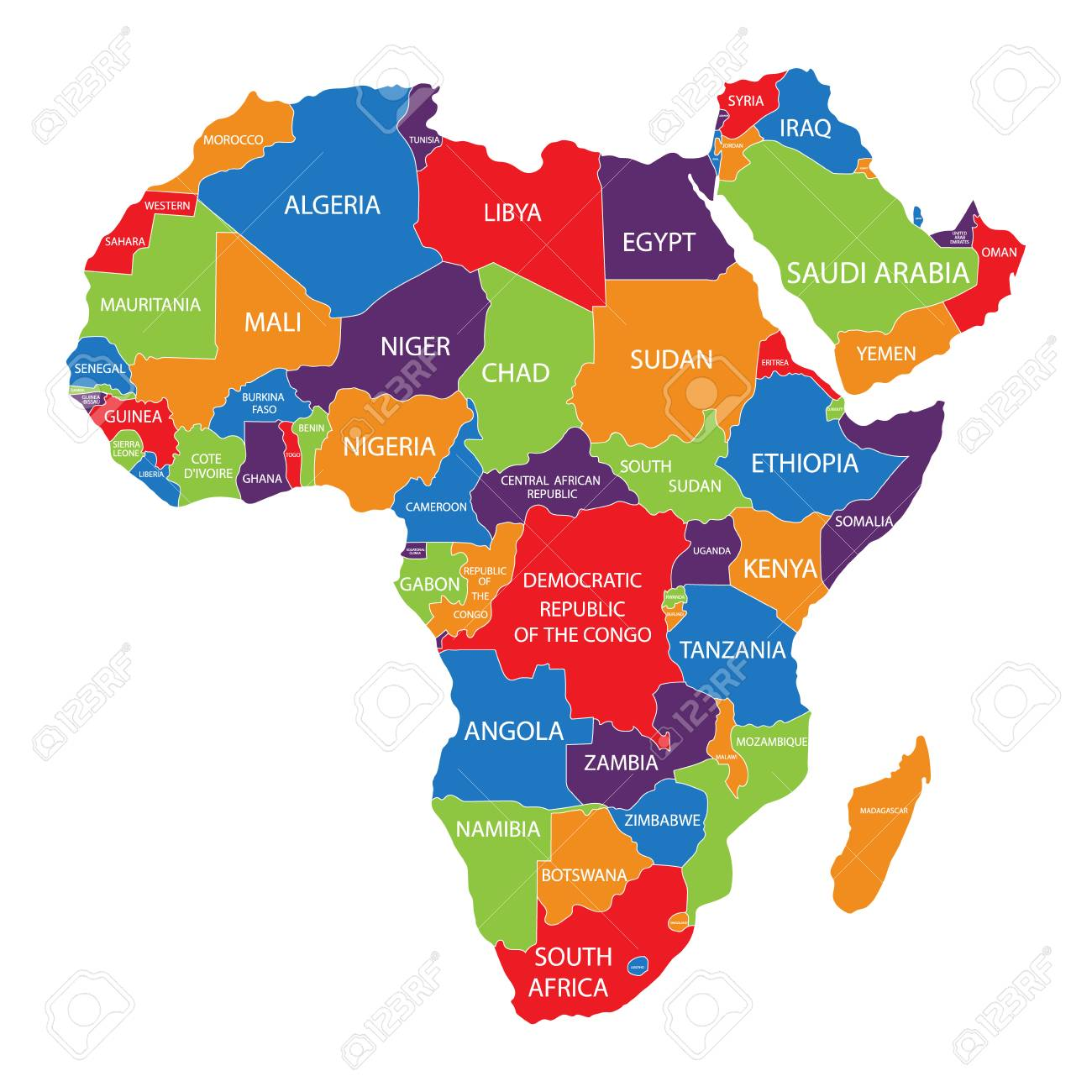 Raster Illustration Africa Map With Countries Names Isolated Stock